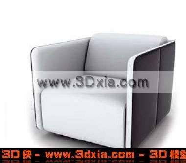 黑白单个沙发椅子3D模型下载