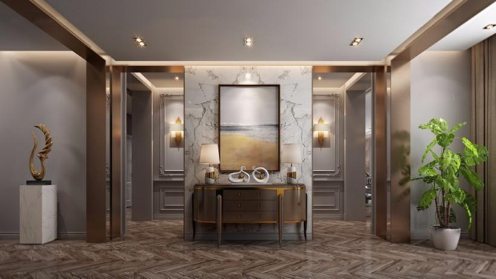 现代美式门厅 门厅 玄关柜 端景柜 盆栽