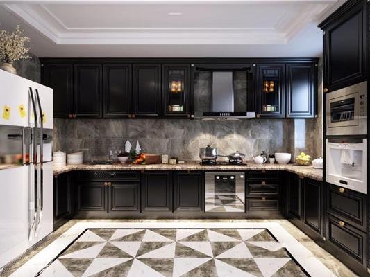 简欧厨房 新中式厨房 橱柜 冰箱