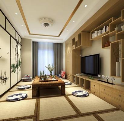 日式书房 日式书房 榻榻米 桌几 装饰柜