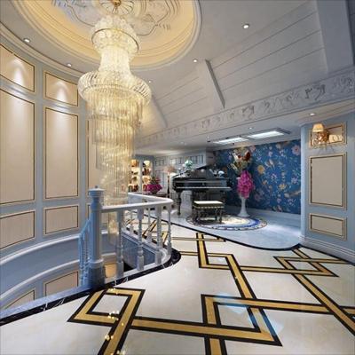 法式楼梯过道 过道 楼梯间 钢琴 水晶吊灯 壁灯