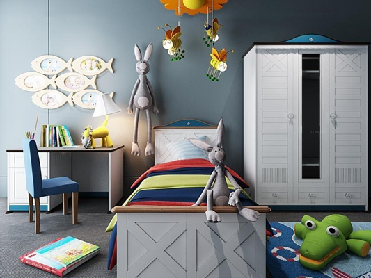 儿童房衣柜床具组合 儿童房 儿童床 书桌椅 衣柜 玩具