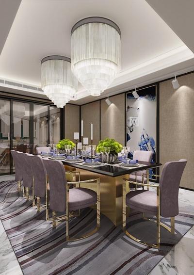 现代中式餐桌椅餐具组合 现代餐厅 餐桌椅 水晶吊灯