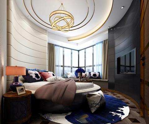 现代卧室圆床组合 现代卧室 圆形双人床 床头柜 吊灯 台灯