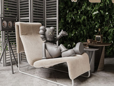 现代躺椅茶几组合
