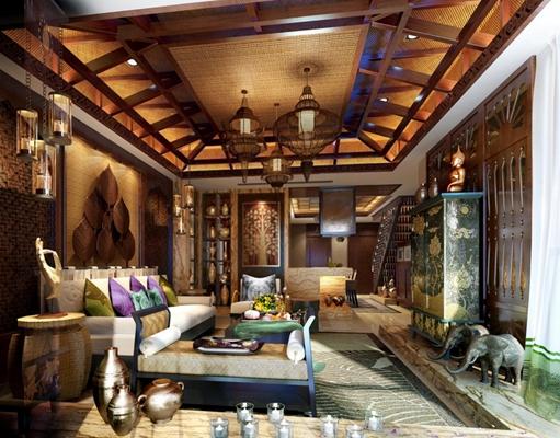 东南亚风情客厅 东南亚客厅 多人沙发 东南亚吊灯 角几 高柜 古铜雕像