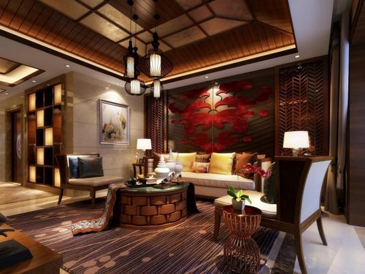 东南亚风格模型 东南亚客厅 东南亚多人沙发 茶几 吊灯 角几