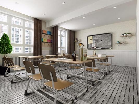 现代教室 现代教室 书桌 椅子 黑板
