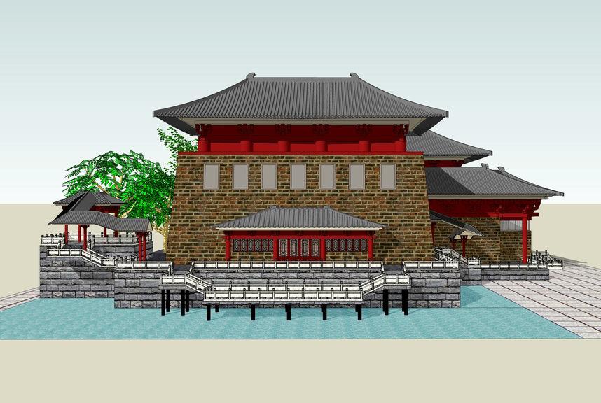 唐朝古建筑SU模型