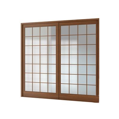 现代长方形木艺推拉窗