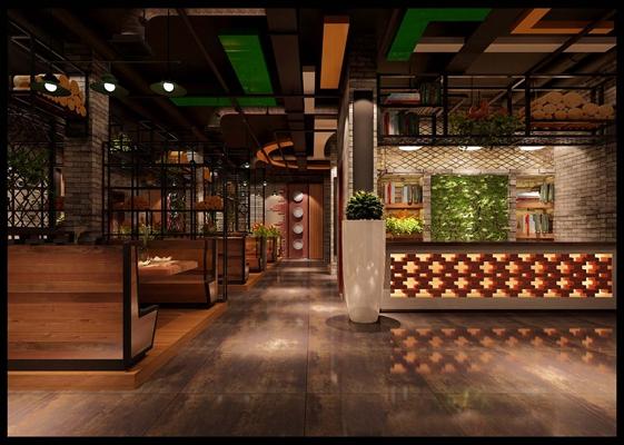 工业风西餐厅 白色陶艺大花瓶 工业风收银台