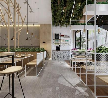 现代餐厅 现代餐厅 餐桌椅 吊灯 隔断