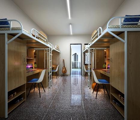学生宿舍单人床 学生宿舍单人床 书柜 书桌椅 电脑 吉他 篮球