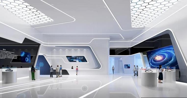 现代展厅 展厅 展示架 柜台