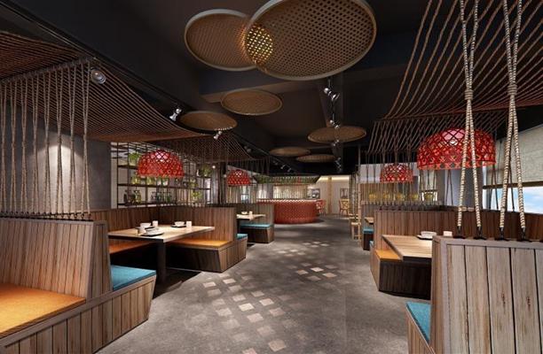 特色餐厅 酒店餐厅 特色餐厅 卡座 吊灯