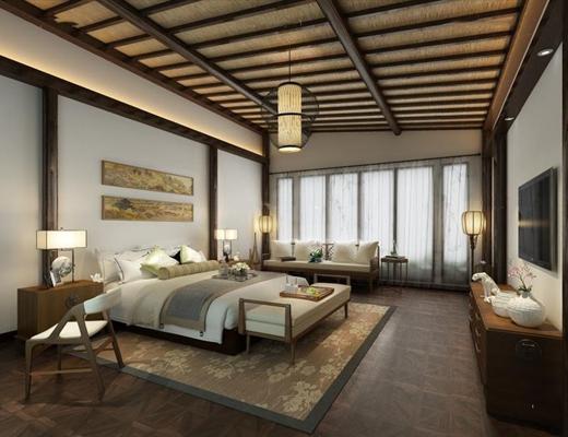 东南亚酒店客房 酒店客房 床具 床尾凳 电视柜 沙发