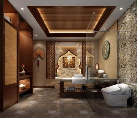 东南亚SPA包厢 SPA会所 按摩床 卫浴柜 马桶 淋浴间