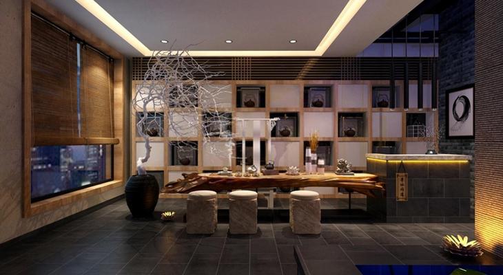 中式禅意茶楼 茶室 茶桌椅 花艺