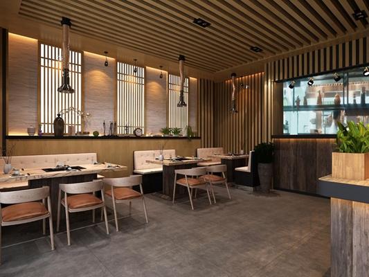 日韩餐厅 日式餐厅 餐桌椅 卡座 射灯 盆栽 摆件