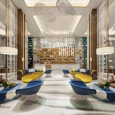 现代酒店前台 现代酒店前台 接待台 等候区 多人沙发 单椅 吊灯 茶几 金属隔断