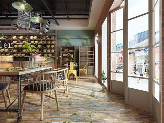奶茶店 现代奶茶店 餐桌椅 装饰架 吊灯 摆件