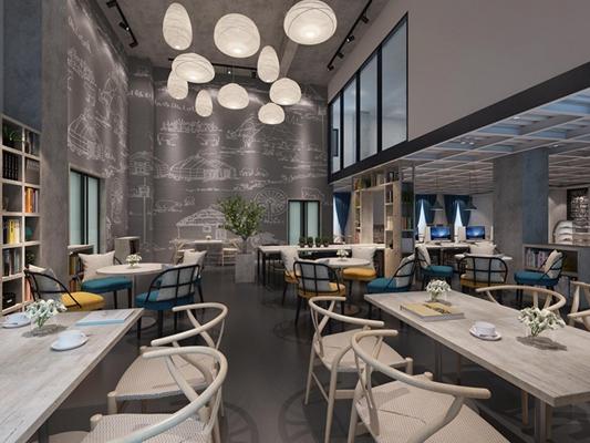 现代咖啡馆 咖啡馆 餐桌椅 吊灯