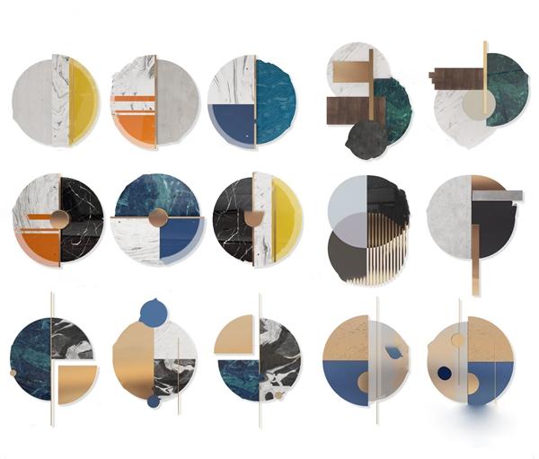 现代轻奢圆形墙饰挂件组合3d模型