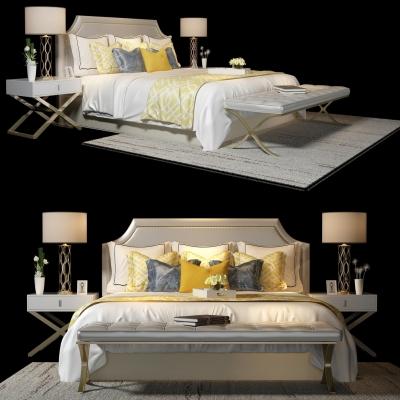 美式双人床床头柜组合3D模型