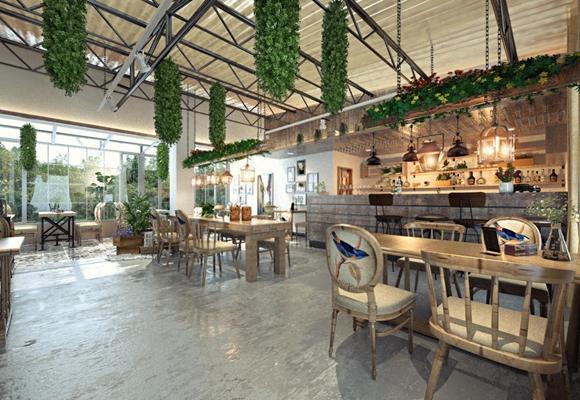 工业风咖啡店 工业风咖啡厅 实木桌 植物 铁艺吊灯 单椅 吧台