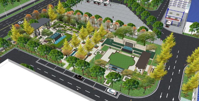 现代广场景观SU模型