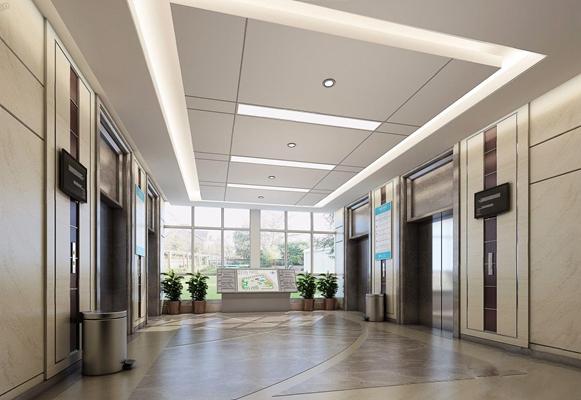 醫院電梯廳 醫院電梯廳 垃圾桶 植物 電視