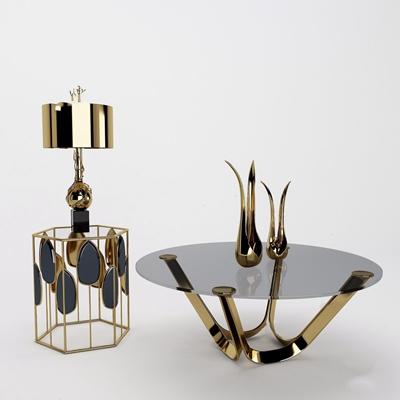法式金屬邊幾組合裝飾品 法式邊幾 金屬邊幾 邊幾 玻璃茶幾 臺燈