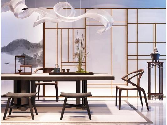 现代新中式茶桌椅子吊灯组合 新中式餐桌椅 吊灯 角几 摆件