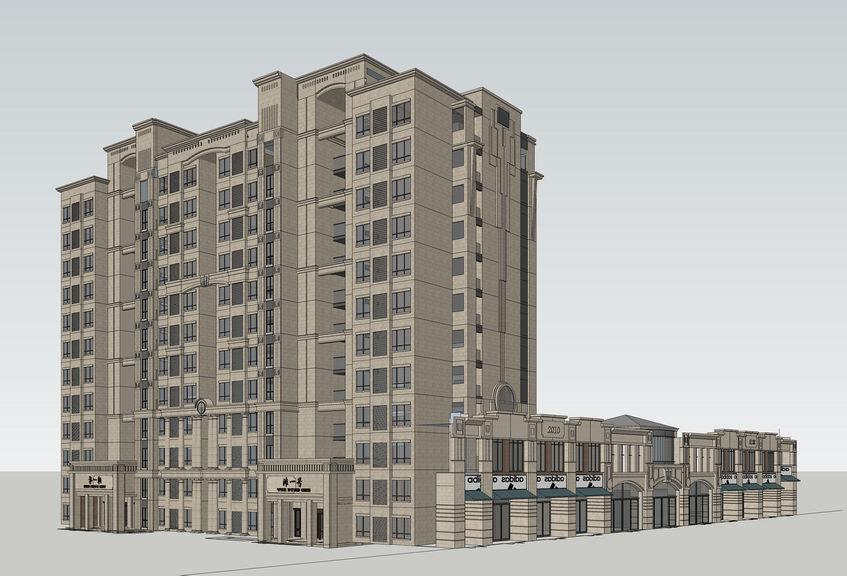 新古典高层住宅+底商SU模型