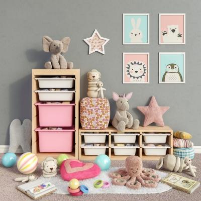 北欧实木儿童柜玩具玩偶布娃娃3D模型