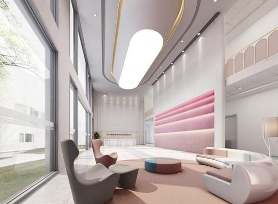 现代接待大厅 接待台 吧台 大堂 弧形沙发 休闲沙发