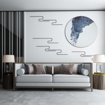 新中式布艺沙发摆件组合3D模型