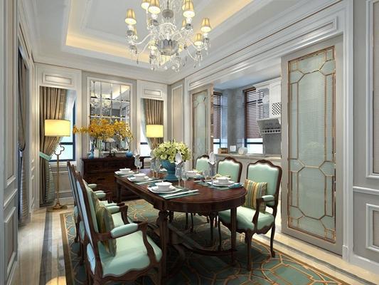 美式餐厅 美式餐厅 餐桌椅 椭圆餐桌 美式椅子 水晶吊灯 美式边柜 落地灯