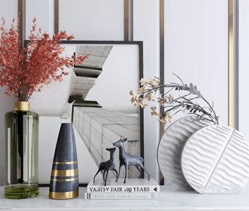 现代饰品摆件 现代饰品摆件 玻璃花瓶 装饰画 雕塑