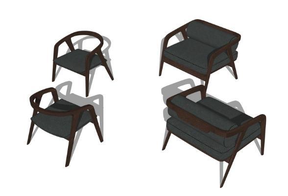 现代单人椅子组合SU模型