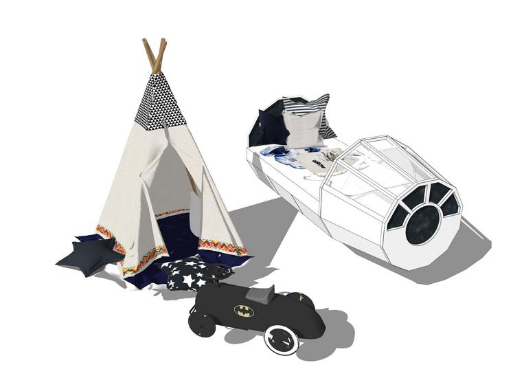 儿童床帐篷组合SU模型