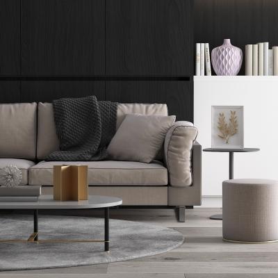 现代布艺沙发茶几边柜摆件组合3D模型