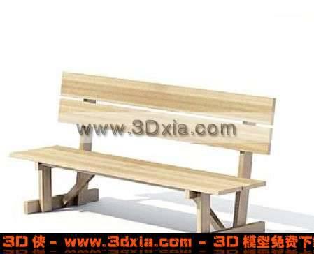 3D非常简单普通的户外休闲木椅模型