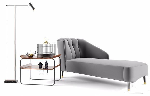 新中式贵妃椅饰品组合 新中式贵妃椅 茶几 落地灯 装饰品