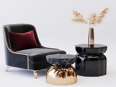 现代布艺单人沙发3d模型