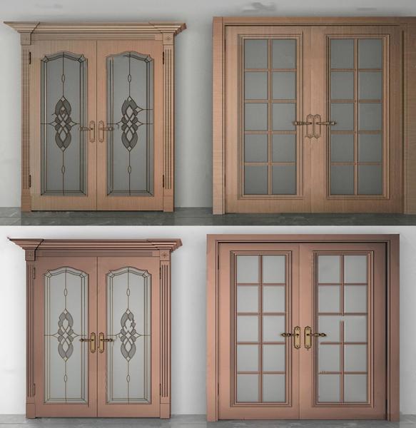 简欧钛金玻璃门双开门3d模型