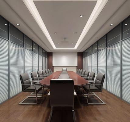 现代会议室 现代会议室 会议桌 办公椅 投影仪 百叶帘