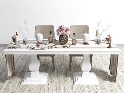 现代餐桌椅餐具摆件组合 现代餐桌椅 餐具 摆件组合