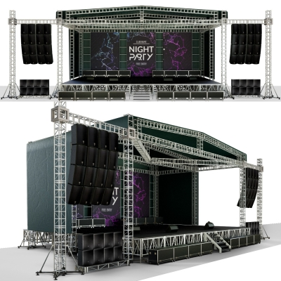 现代露天室外舞台音响组合3D模型