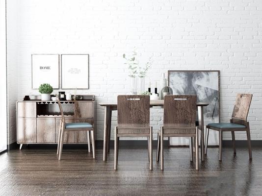 北欧餐座椅餐边柜组合 北欧桌椅组合 餐桌椅 餐边柜 挂画 花艺 盆栽 长餐桌 椅子 单椅 餐椅